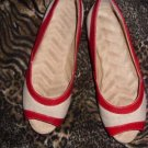 Tan with Red Trim Canvas Upper Ladies Flats, Size 6
