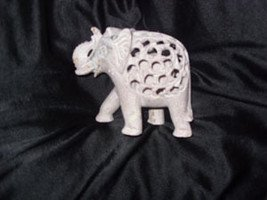 Soapstone African Elephant  and Baby Sculpture