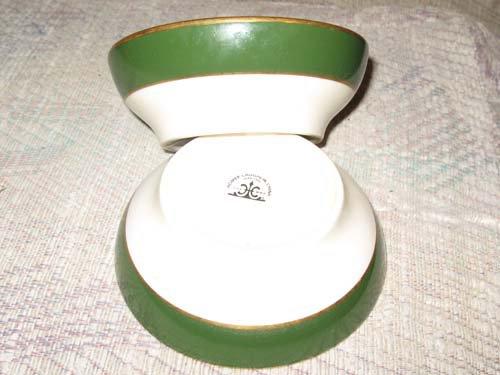 Homer Laughlin Cream, Green & Gold Trim Bowls