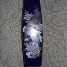 Medium Oriental Flower Vase Cobalt Blue with Peacock