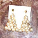 Vintage Cultured Pearl Pyramid Waterfall Earrings (Pierced)