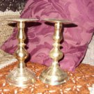 Vintage Brass Pillar Candle Holders, 7 inch