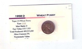 1958 D Wheat Cent , Copper Penny , Circulated United States Currency