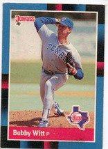 1988 Donruss Baseball Card No 101, Bobby Witt (Rangers)