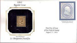 1861 Regular Issue 1 cent Benjamin Franklin 22kt Gold Replica Stamp