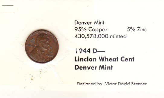 1944 D  Wheat Cent , Copper Penny , Circulated United States Currency