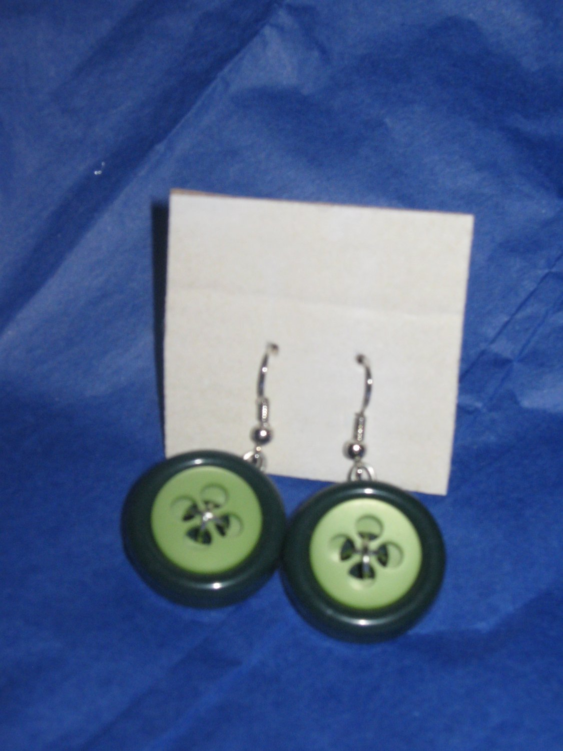Antique Button Earrings Handmade Old button Jewelry  #037