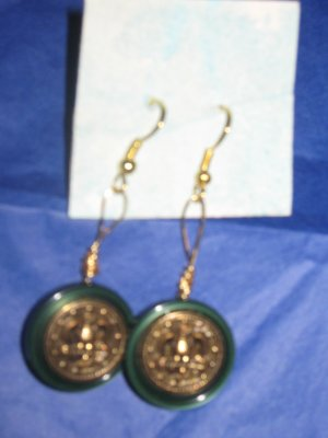 Antique Button Earrings Handmade Old button Jewelry  #039