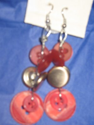 Antique Button Earrings Handmade Old button Jewelry  #049
