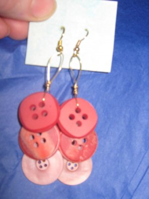 Antique Button Earrings Handmade Old button Jewelry  #056