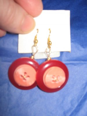 Antique Button Earrings Handmade Old button Jewelry  #059