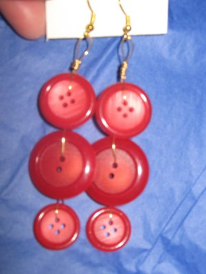 Antique Button Earrings Handmade Old button Jewelry  #061