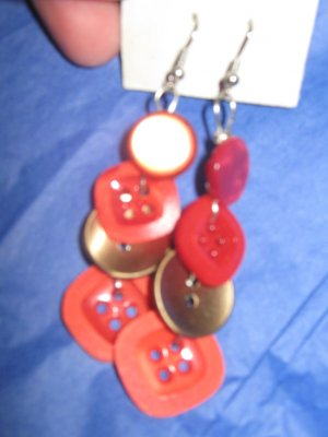 Antique Button Earrings Handmade Old button Jewelry #062
