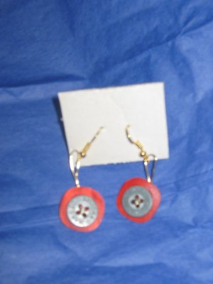 Antique Button Earrings Handmade Old button Jewelry  #065