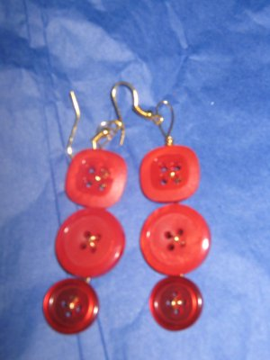 Antique Button Earrings Handmade Old button Jewelry  #076