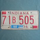Vintage Red White Indiana License B Plate 1974