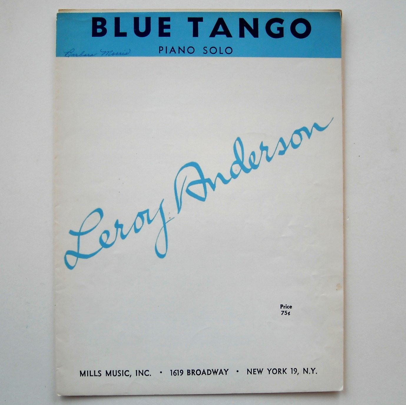Blue Tango Piano Solo Featured By Leroy Anderson Vintage 1951 Sheet Music