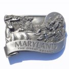 Maryland Old Line State Vintage Bergamot Pewter Belt Buckle