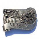 Virginia State Great Escape 3D Vintage Bergamot Pewter Belt Buckle