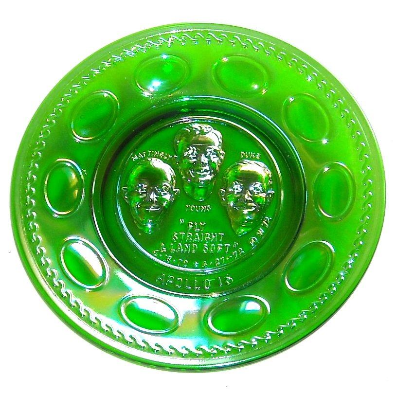 Wheaton Apollo 16 Vintage 1972 Green Iridescent Carnival Glass Plate