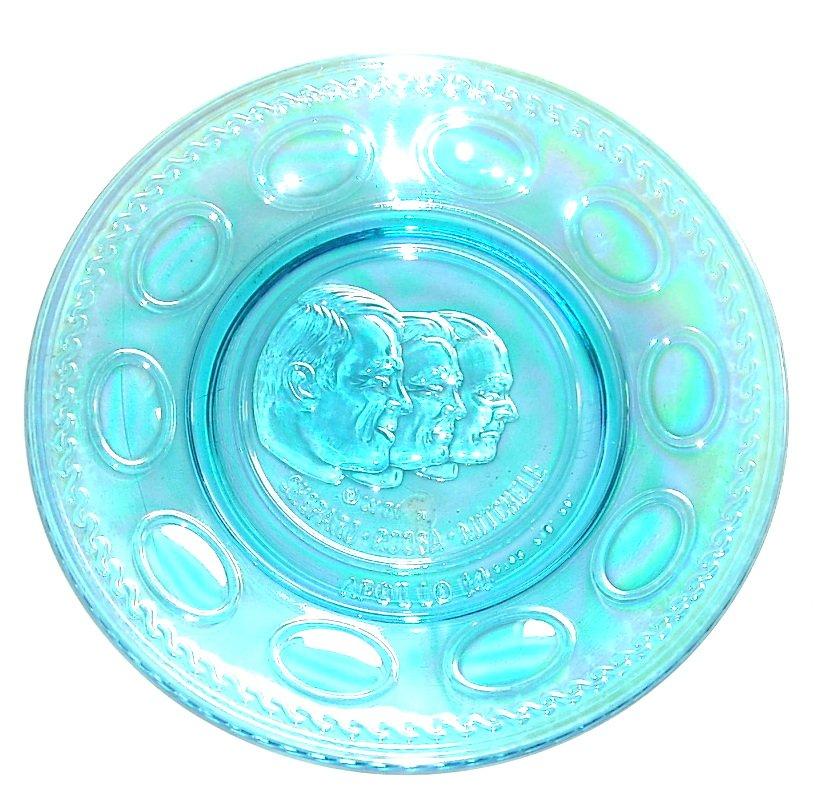 Wheaton Apollo 14 Vintage 1971 Blue Iridescent Carnival Glass Plate
