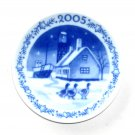 Small Christmas Plate Ornament Royal Copenhagen 2005 Old Fishing Village