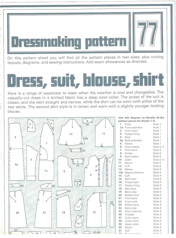 Dress Suit Blouse Shirt Phoebus Dressmaking Vintage 1975 Sheet Sewing Pattern 77