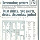 Shirts Skirts Dress Phoebus Dressmaking Vintage 1975 Sheet Sewing Pattern 75