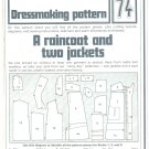 Raincoat Jackets Phoebus Dressmaking Vintage 1975 Sheet Sewing Pattern 74