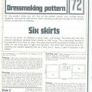 Skirts Phoebus Dressmaking Vintage 1975 Sheet Sewing Pattern 72