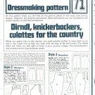 Womens Knickerbockers Dressmaking Phoebus Vintage 1975 Sheet Sewing Pattern 71