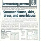 Summer Blouse Skirt Dress Dressmaking Phoebus Vintage 1975 Sheet Sewing Pattern 68
