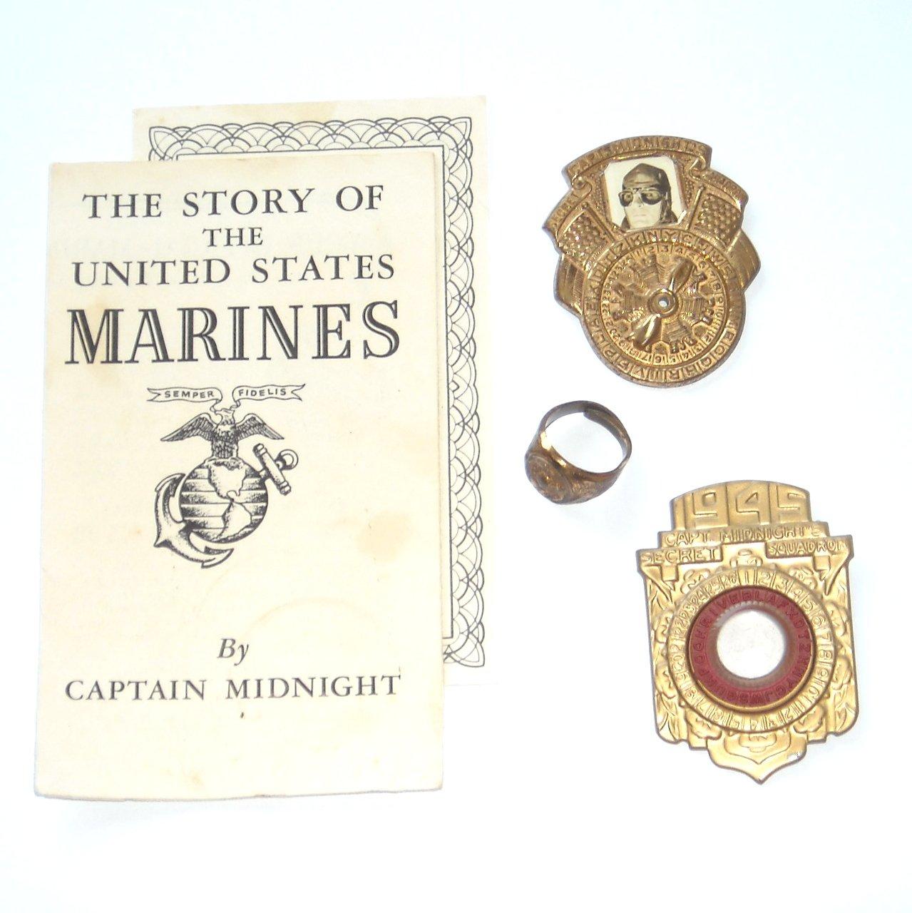 Captain Midnight Vintage 1940s Lot Decoder Badge Ring