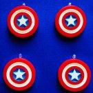 New Set of 4 Avengers Captain America Shield Mini Tree Ornaments