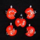 New Set of 5 Lady Bug Nature Mini Tree Ornaments
