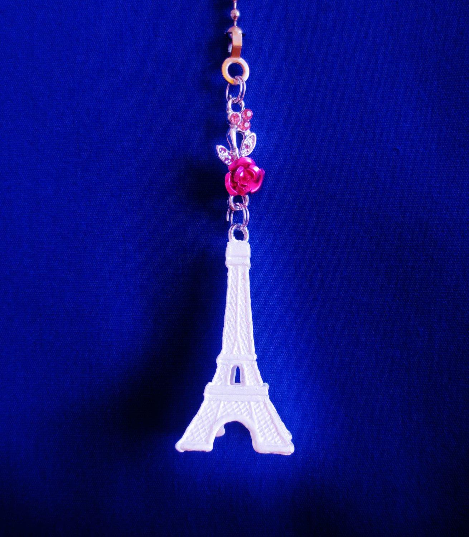 Eiffel Tower Paris Landmark White Ceiling Fan Light Pull Chain