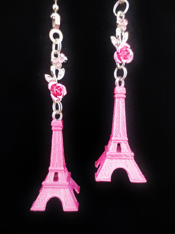 Eiffel Tower Paris Landmark Pink Ceiling Fan Light Pull Chain
