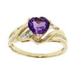 Heart Cut Amethyst Cubic Zirconia Gold Ring (size: 7)
