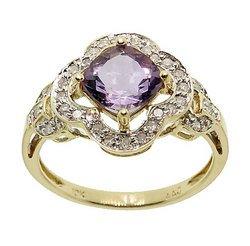 Amethyst Diamond Gold Ring (size: 7)