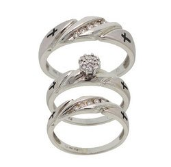 1/4 Carat Diamond Engagement and Wedding Band Trio 14K White Gold Ring Set
