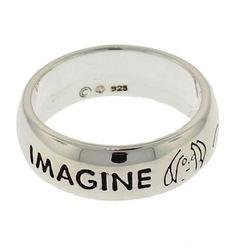 Collectible Sterling Silver John Lennon IMAGINE Ring (size 9)
