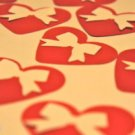 Heart Bow Punchies Scrapbooking Card Making Craft Confetti Valentine Red Love