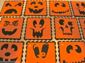 "Halloween Gift Tags Pumpkin Jack O Lantern 2"" Square Scrapbook Embellishment Tag"