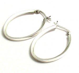 Silver Beveled Oval Hoop Earrings