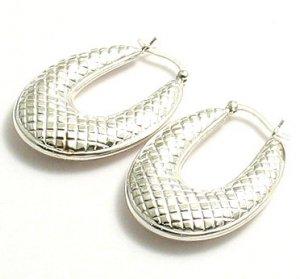 Silver Fancy Oval Hoop Earrings