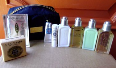 L'Occitane Verbena 8 Piece Pouch Travel Size Lotion Shampoo Shower Gel Soap New