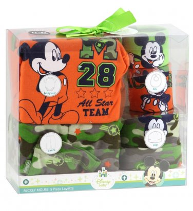 Disney Baby Boy Mickey Mouse 5 Piece Layette Set 0-6 Months Camouflage Pants Cap