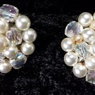 Beautiful Vintage antique pair of clip-on White and off white pearl and aurora earrings