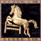 Antique Vintage Jumping Horse Brass Pin