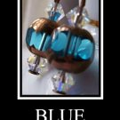 FREE SHIPPING USA/CAN  Artisan hand-made copper and blue earrings with Swarovski Crystals